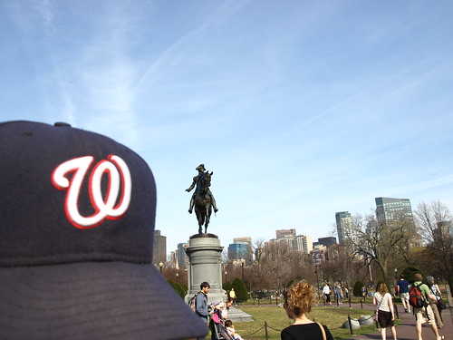 Curly W cap with Washington statue in Boston