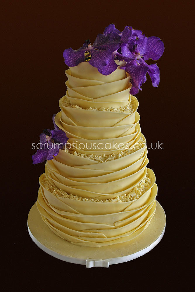 Wedding Cake - White Chocolate Wrap & Fresh Orchids - a photo on ...