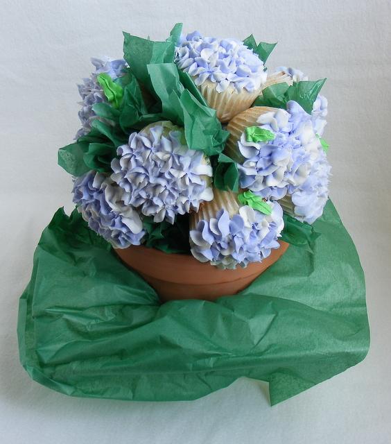 Hydrangea Cupcake Centerpiece : Hydrangea cupcake bouquet flickr photo sharing