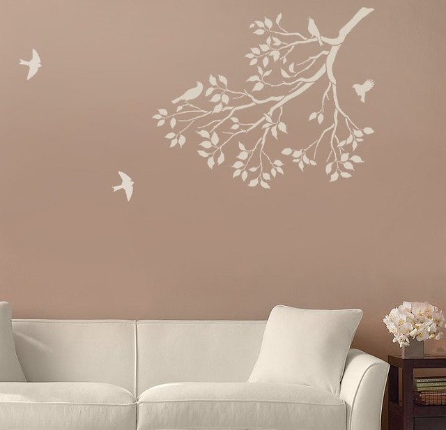 Reusable Wall Stencils Spring Songbirds on a Tree Branch