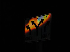 Traffic sign at night.