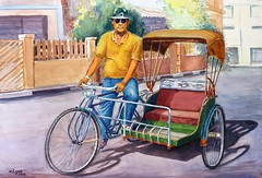 rickshaw, vehicle, land vehicle, carriage, tricycle,