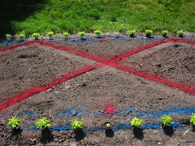 Color-coded lines indicate what plants will go where in the Annual Border display.