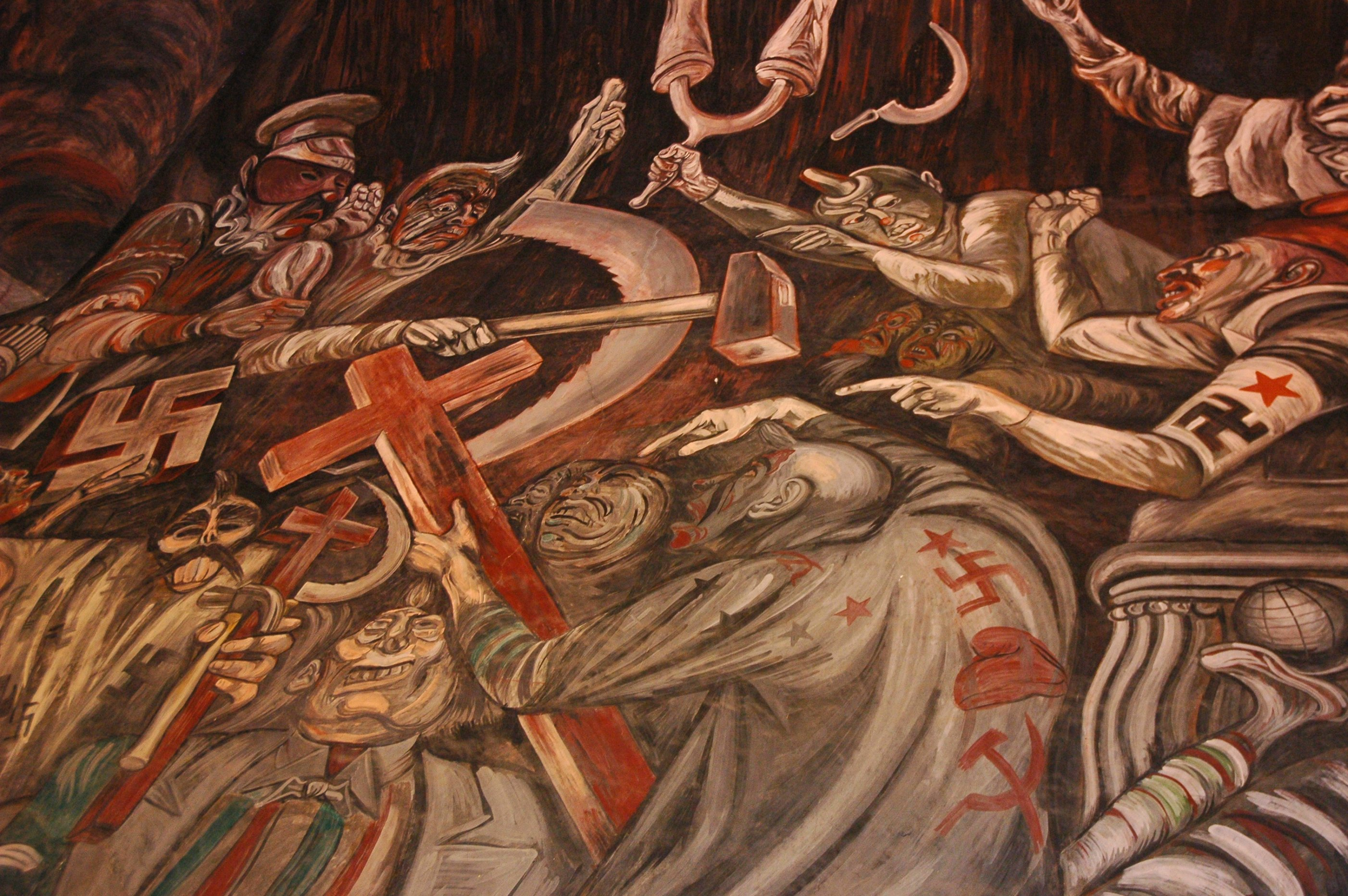 War mongerers clowns of war arguing in hell jos for El mural jalisco