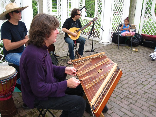 Mecca Bodega play enchanting music in the Cranford Rose Garden. Photo by Rebecca Bullene.