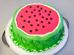 watermelon, cake, cassata, sugar paste, food, cake decorating, icing, birthday cake,