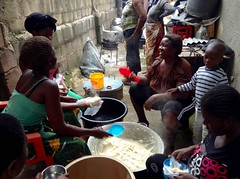 Women cooking cornmeal to sell, Ushafa Village, Abuja, Nigeria, #JujuFilms