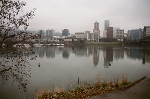 downtown portland skyline, seen from my bike