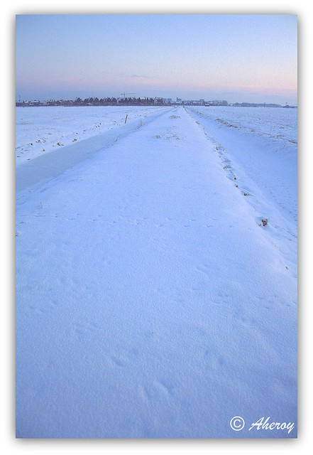 Snow Looking South,Groningen ,the Netherlands,Europe