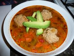 Spicy albondigas soup   Pork meatballs with veggies in broth ...