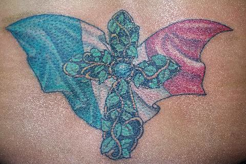 Italian Tattoos on Cross Of Ivy And The Italian Flag Tattoo   Flickr   Photo Sharing