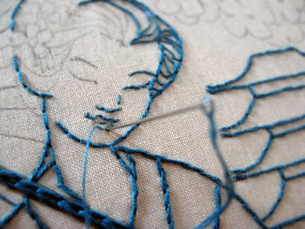 geisha embroidery - making progress by isewcute - my original design & pattern