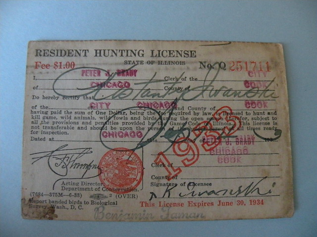 Kostanty gust iwanski 39 s 1933 illinois hunting license for Fishing license illinois