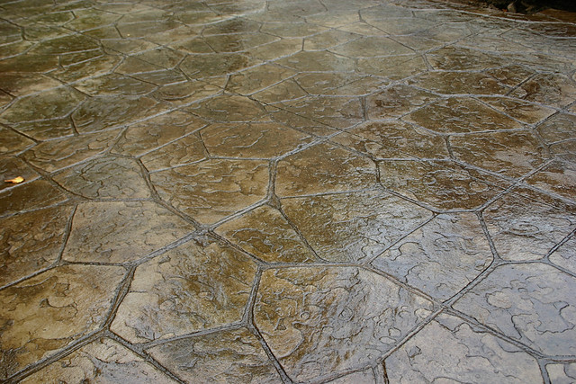 Flagstone Stamped Concrete : Flagstone stamped concrete patio natural with autumn bro