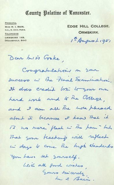 Miss Bain Letter