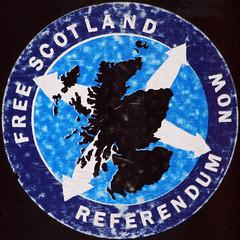 Pegatina a favor del referendum en Escocia