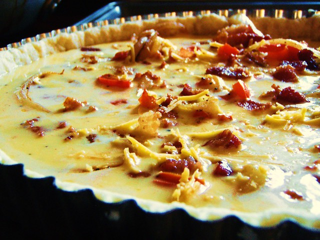 mexican cheese and bacon quiche tart - 16