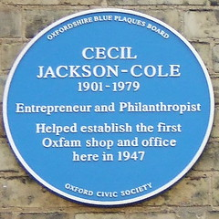 Photo of Cecil Jackson-Cole and Oxfam blue plaque