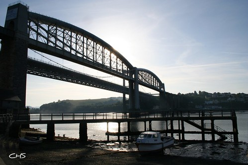 Tamar and Royal Albert Bridge taken from Saltash by Stocker Images