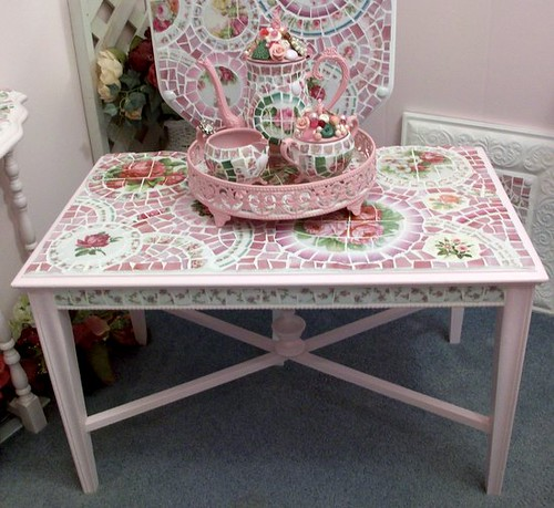 Pretty in Pink Shabby Mosaic Coffee Table