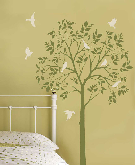 tree stencil with birds easy wall stencils from cutting e flickr