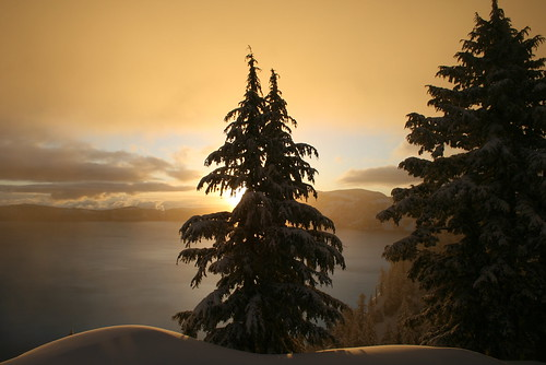park lake snow oregon sunrise dawn national crater craterlake