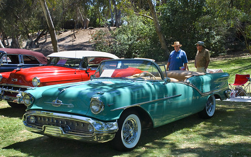 1957 Oldsmobile S 88 Convertible with top down - turquoise - fvl