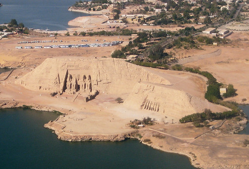 Egypt, aerial view of the Abu Simbel Temples of Ramesses II and Nefertari