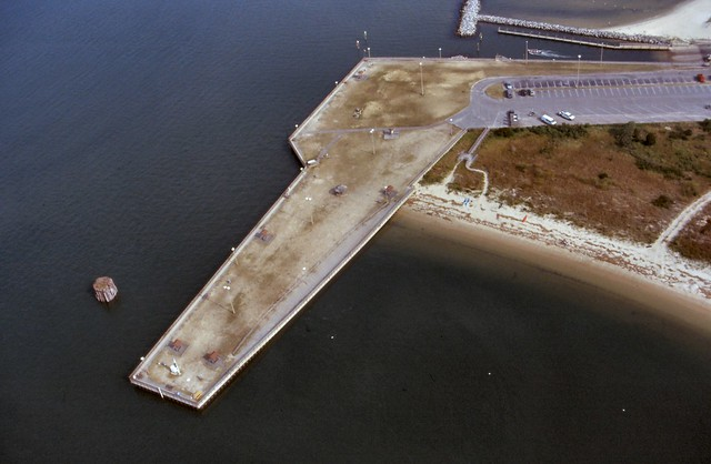 Aerial view of the fishing pier at Kiptopeke State Park.  It is great for crabbing and fishing!