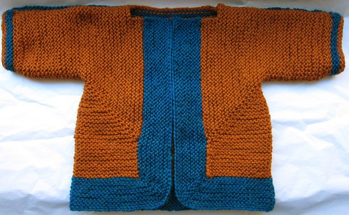 Orange & Blue Baby Surprise Jacket -- Front