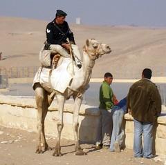 Policeman on camel at pyramids