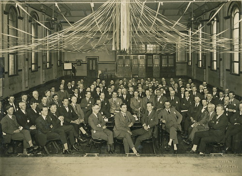 Large group of men at meeting, 1920 - 1929