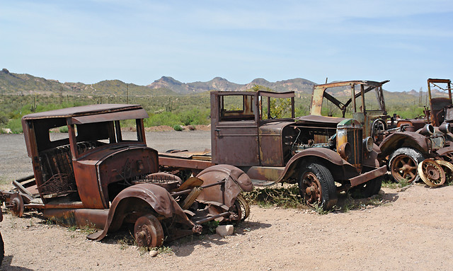 Old Cars In The Desert Apache Junction Az By
