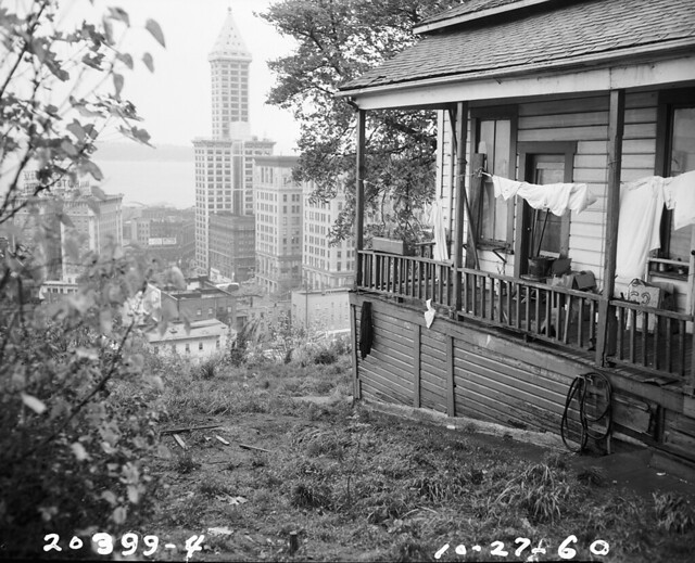View of Smith Tower from Yesler Terrace area, 1960