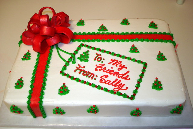 Christmas Sheet Cake Decorating Ideas : Fondant Bow Christmas Sheet Cake Explore katyskakes ...