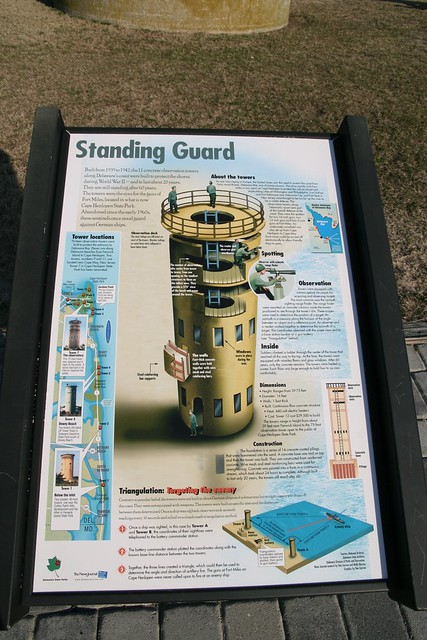 Delaware Seashore State Park, Delaware - Information board next Observation Tower #3, telling the story of these WW2 towers.