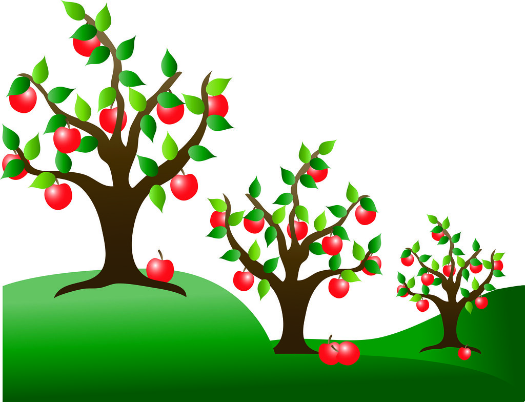 Clip Art Illustration of Apple Trees in an Orchard - a ...