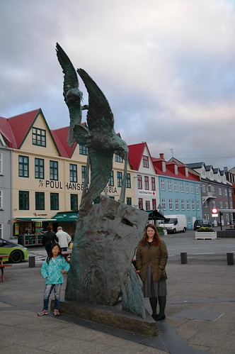 Bird sculpture at the harbour in Torshavn, Faroes