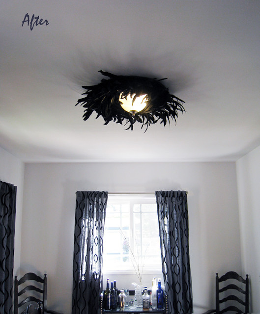 Ceiling Light Fixture Dining Room : Feather dining room ceiling fixture light lamp after