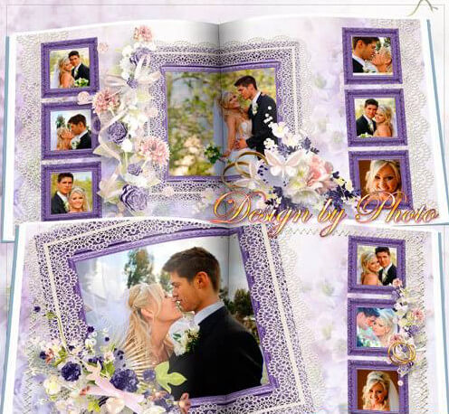Photobook for honeymooners for Photoshop – purple wedding