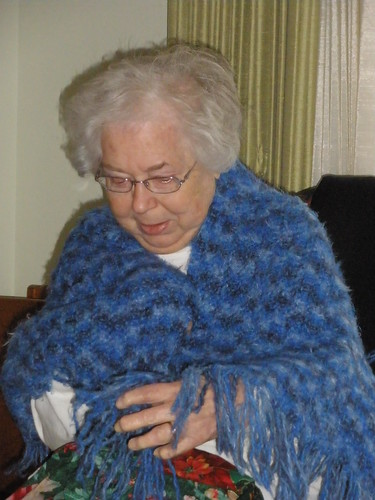 Mom in the Prayer Shawl I Made for Her