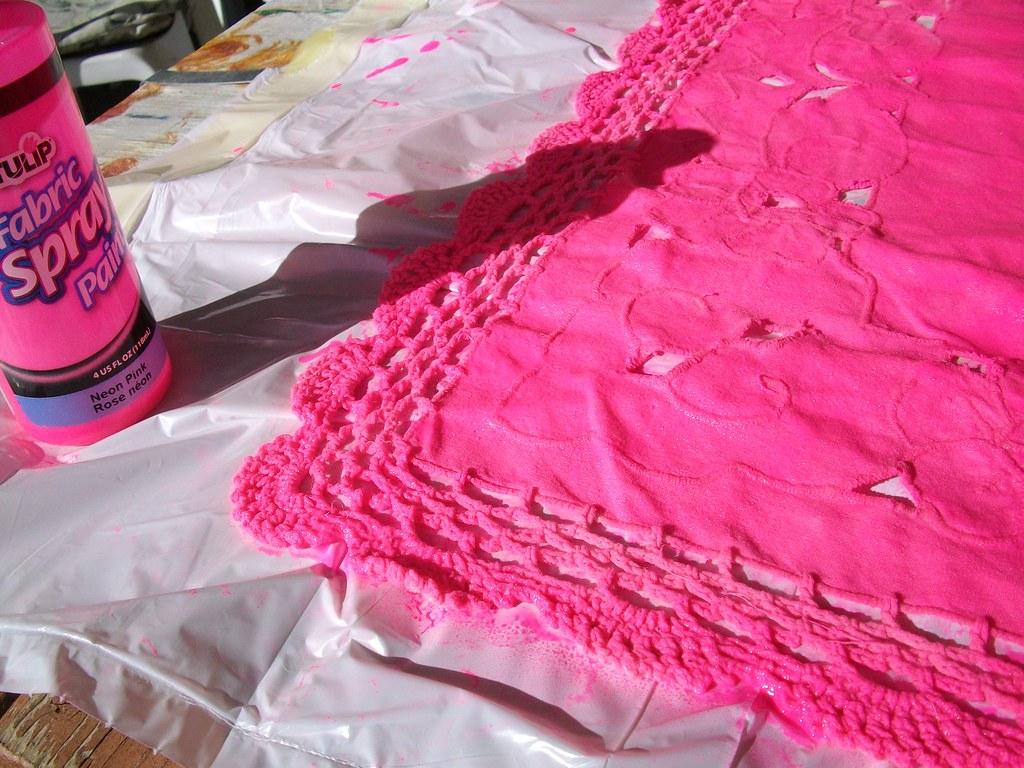 Fabric sprayed doily