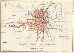 Transit Routes and Coverage Greater Winnipeg Transit System Metropolitan Area Winnipeg, Manitoba (1957)