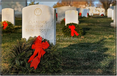Close-up of Christmas wreath on a headstone at Arlington National Cemetery - a color image - taken with a Nikon D300 camera and a Tamron 17-50 lens