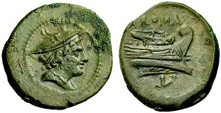 43/6 var. Luceria L Semuncia. Roman mint. Mercury; ROMA / Prow, bulbous stem / L, no circle. RBW 3g25
