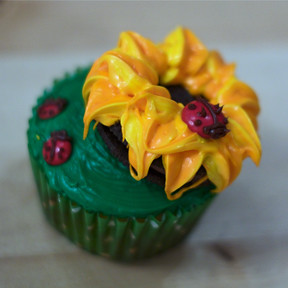 Sunflower Cupcake with Ladybugs