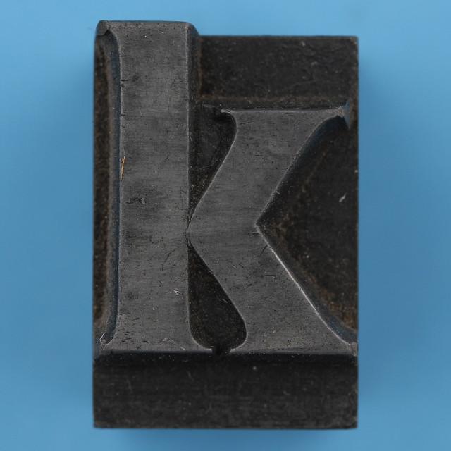 metal type letter k