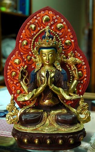 Avalokiteśvara Statue, Chenrayzee, Chenrezig, Bodhisattva of Compassion, Boudha, Kathmandu, Nepal by Wonderlane