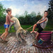 The Dog Bath - Who is getting the bath? by Les Bryant 2010