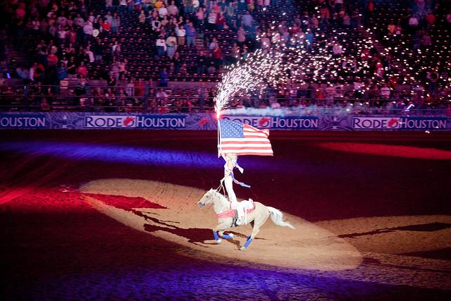 girl+horse+flag+fireworks   2010 Houston Livestock Show ...